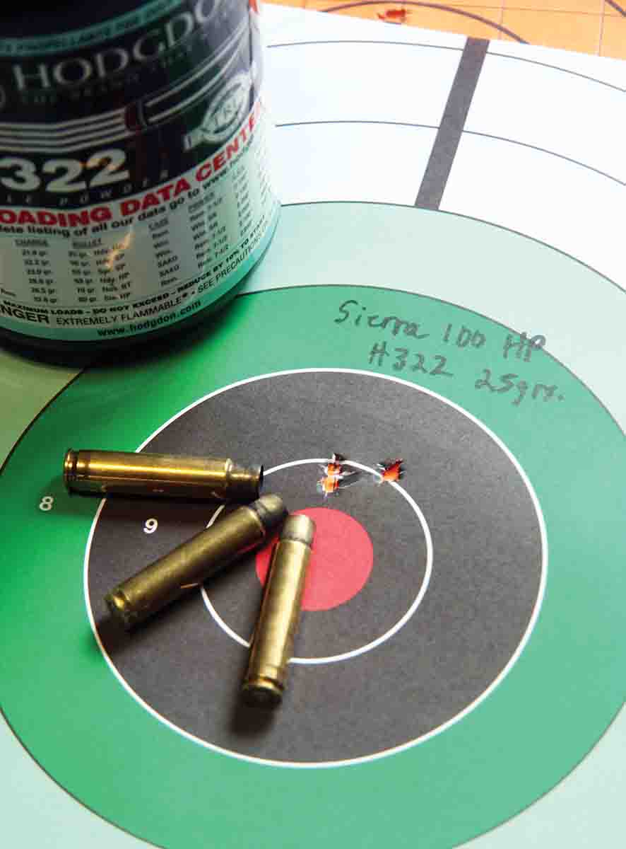 Loading 25 grains of Hodgdon H-322 beneath Sierra's 100-grain Varminter HP produces Patrick's long-time, proven varmint-shooting load. Pushed to 2,029 fps, this bullet produced a .56-inch, three-shot 100-yard group.