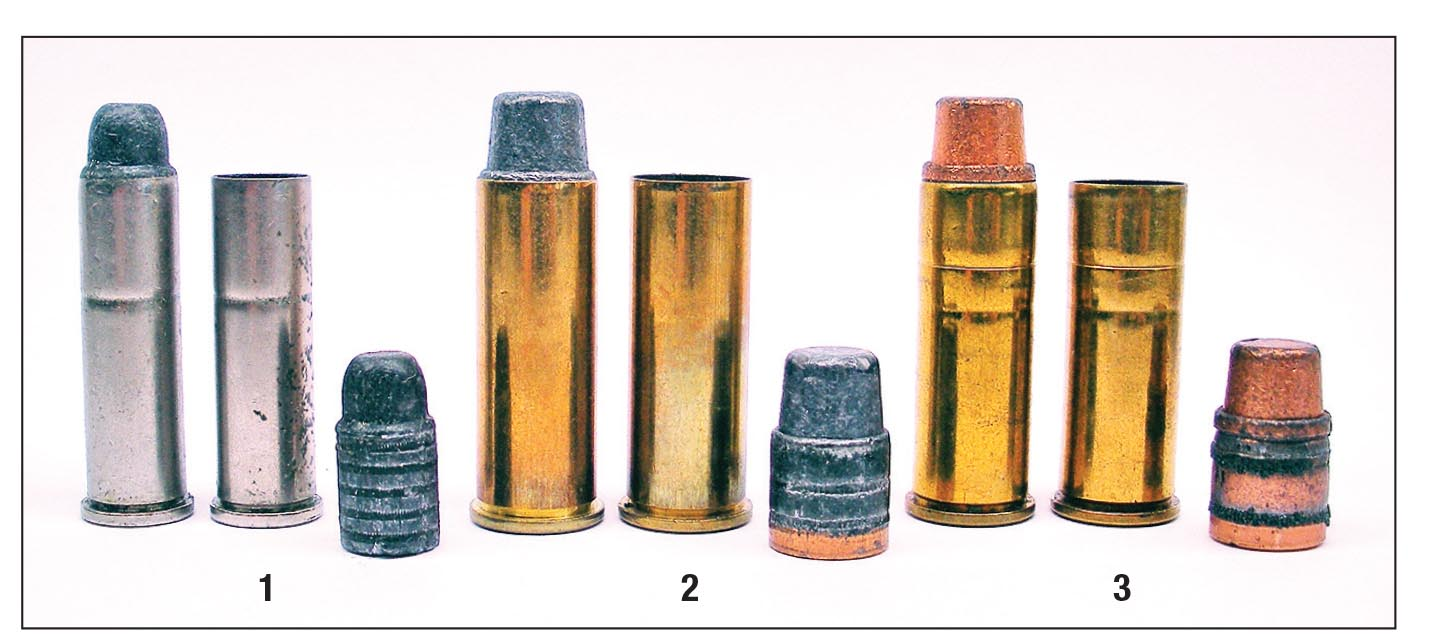 "The early factory lead ""Sharp""-style bullet in the (1) Remington .357 Magnum load lacked a gas check or jacket and was prone to leading barrels. The (2) Remington and (3) Winchester .44 Magnum loads used a relatively hard lead alloy and a gas check to help control leading."