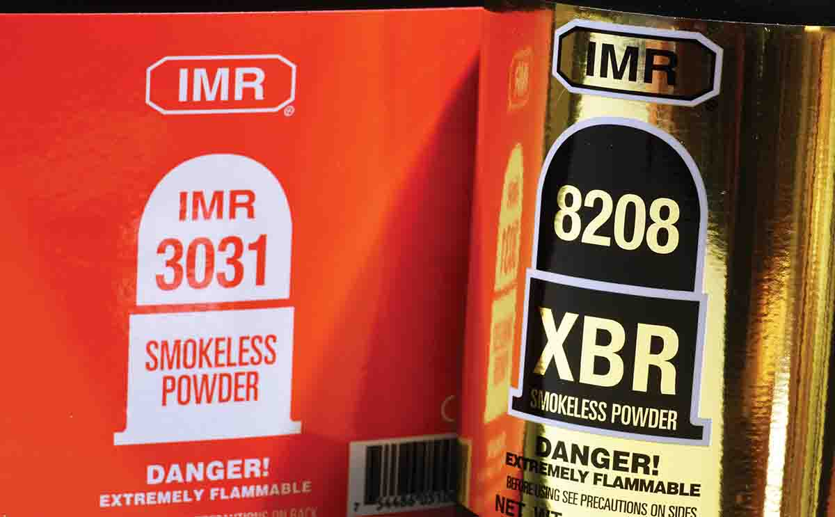 The old and the new: IMR-3031 and IMR-8208 XBR. The latter is aimed squarely at shooters of .308 Winchester-type, super-accurate rifles. It has many of 3031's virtues, with the addition of great temperature stability and ease of metering.