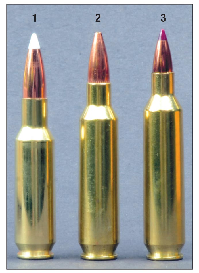 Because they were designed for use in AR-15 rifles, maximum cartridge lengths for the (1) .24 Nosler, (2) .22 Nosler and (3) .20 Nosler are the same as for the .223 Remington.