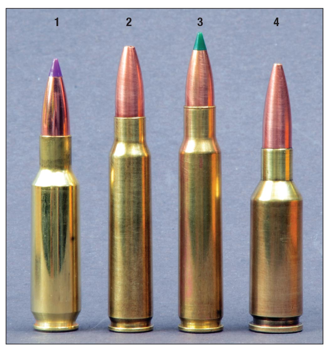 The .24 Nosler is shown here with other 6mm cartridges comparable in performance: (1) .24 Nosler, (2) 6x45mm (.223 Remington case), (3) 6x47mm (.222 Remington Magnum case) and the (4) 6mm PPC.