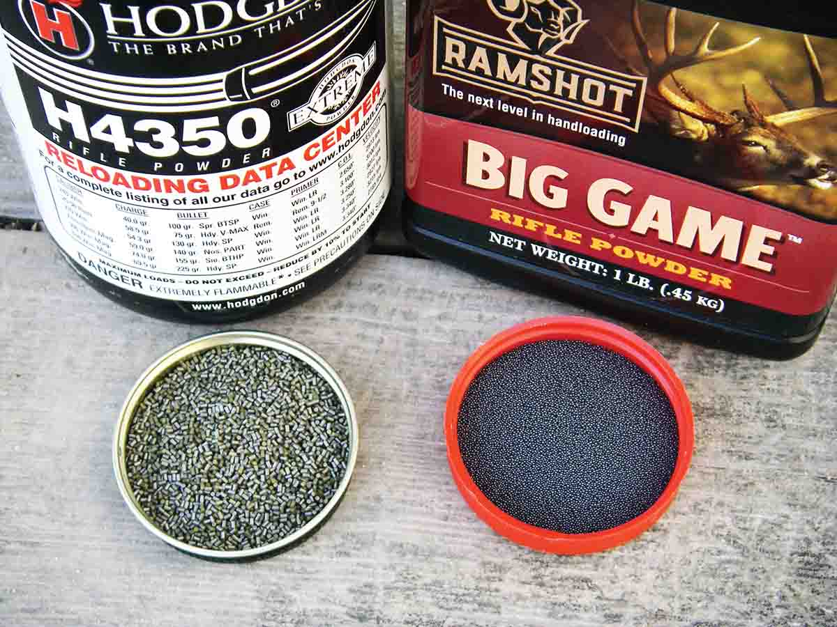 Both extruded and spherical powders, such as Hodgdon H-4350 and Ramshot Big Game, can offer excellent performance in  the .375 H&H Magnum.