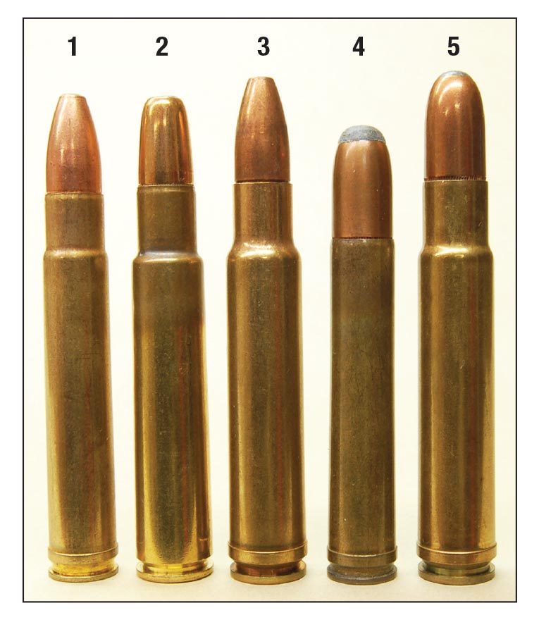 Common American dangerous-game cartridges include the (1) .416 Remington, (2) .416 Rigby, (3) .416 Weatherby Magnum,  (4) .458Winchester Magnum and the (5) .460 Weatherby Magnum.