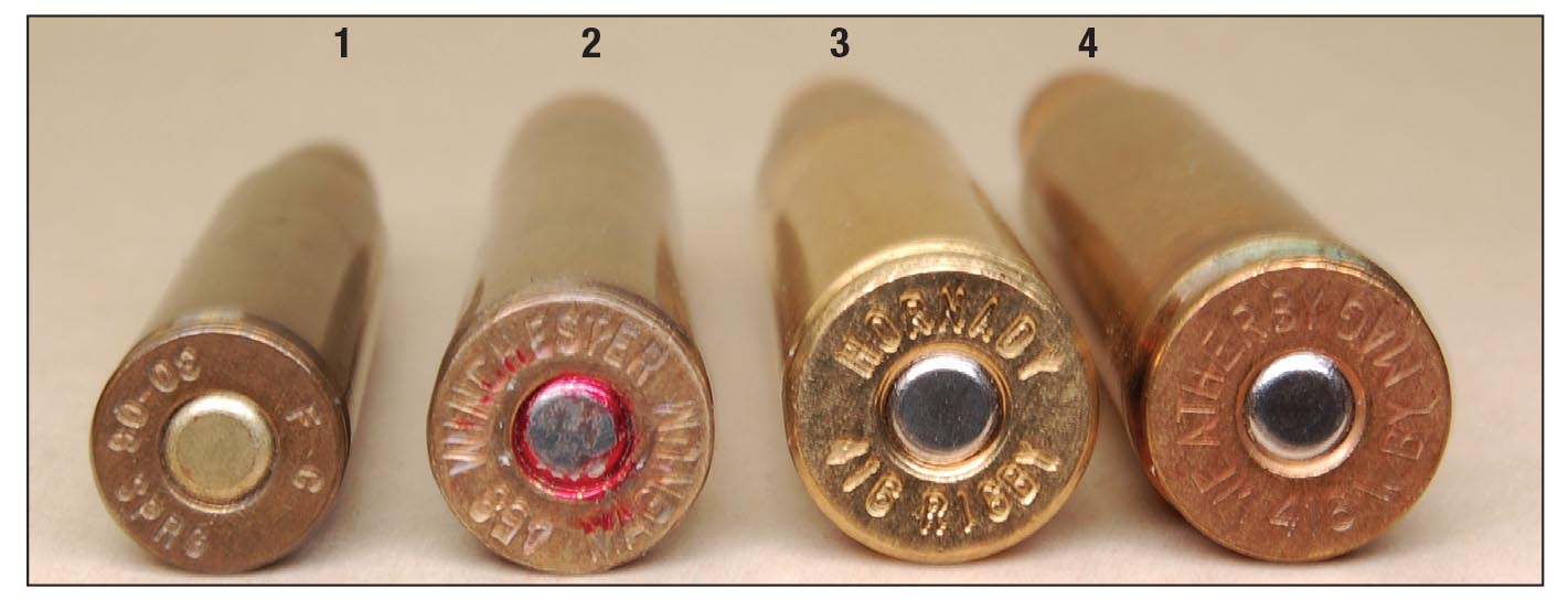 Comparative base sizes of the (1) .30-06, (2) standard belted magnum, (3) .416 Rigby and the (4) .416 Weatherby Magnum. The rims of the Rigby and Weatherby cartridges are the same diameter, only Weatherby adds a belt above the extractor groove.