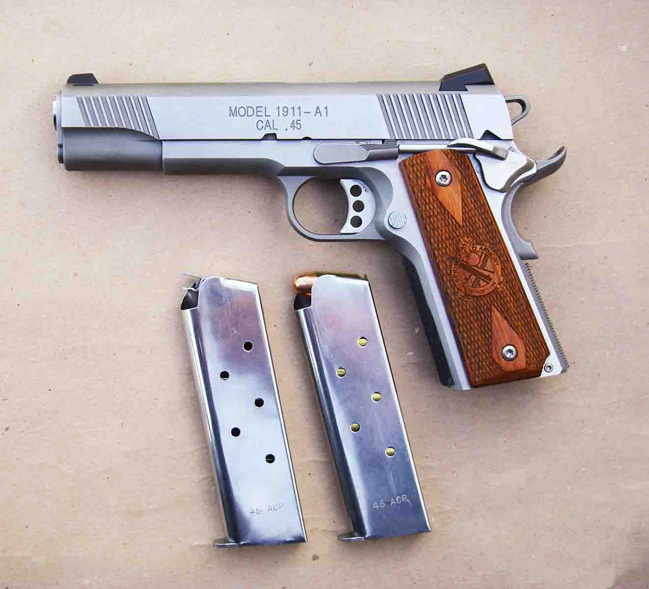 The 1911-A1 Loaded Stainless .45 ACP offers many desirable features, including two magazines.