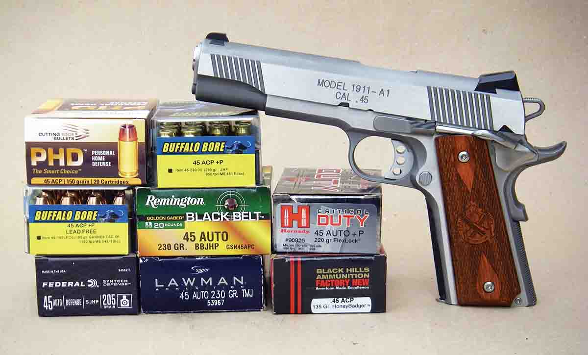 A variety of .45 ACP factory loads were tested in the Springfield Armory 1911-A1 Loaded Stainless, all of which performed flawlessly.