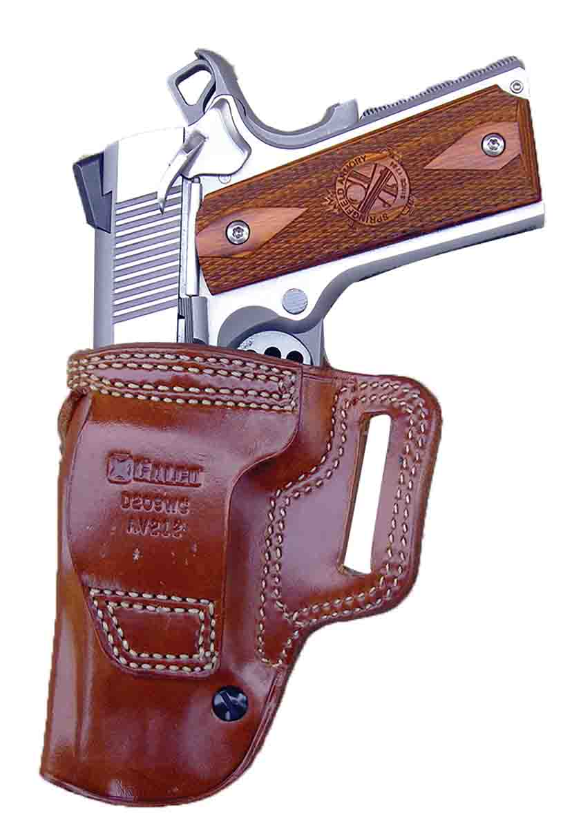 Note the high carry position of the Galco Avenger Belt Holster. The holster features an adjustable tension unit that serves to help secure the pistol while allowing a fast draw.
