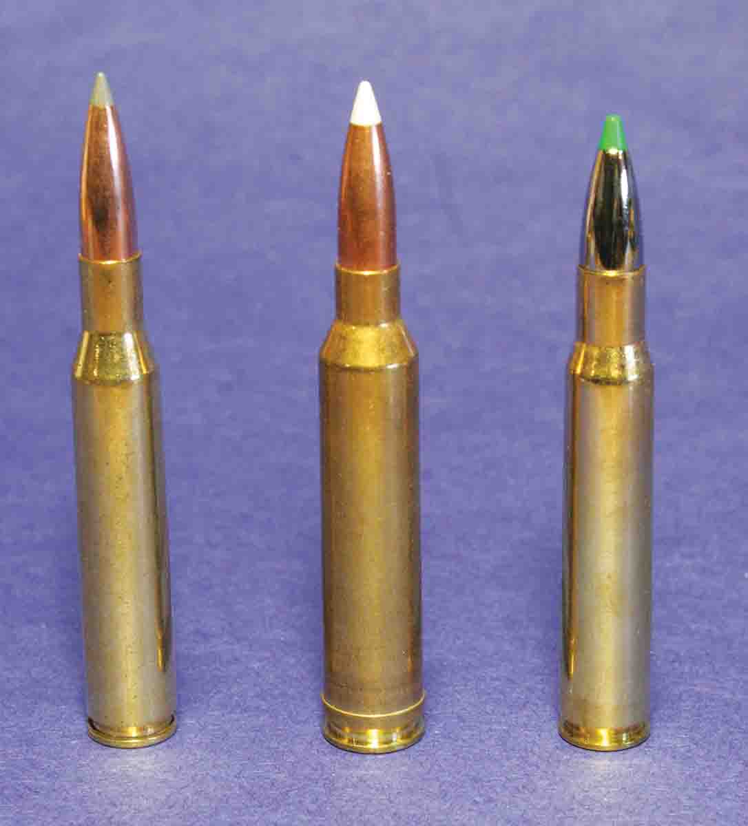 Remington promoted its new 7mm Remington Magnum (center) as outperforming both the popular .270 Winchester (left) with 150-grain bullets and the .30-06 (right) with 180-grain bullets – with recoil resembling the .30-06.