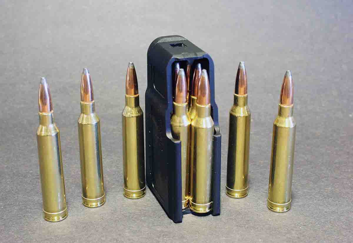 Unlike most bolt actions for magnum cartridges, the Mauser M18's magazine holds five.