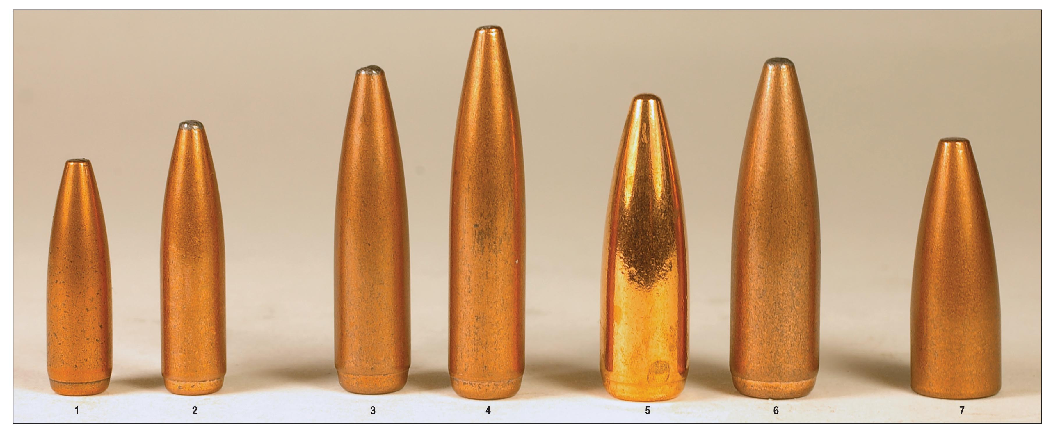 These Speer Gold Dot rifle bullets were handloaded in several different cartridges from .223 Remington to the 7.62x39. They include .22-caliber (1) 62- and (2) 75-grain examples, 6.5mm (3) 120- and (4) 140-grain bullets, .30-caliber (5) 150- and (6) 168-grain examples and a .30-caliber (.310 inch) (7) 123-grain bullet.