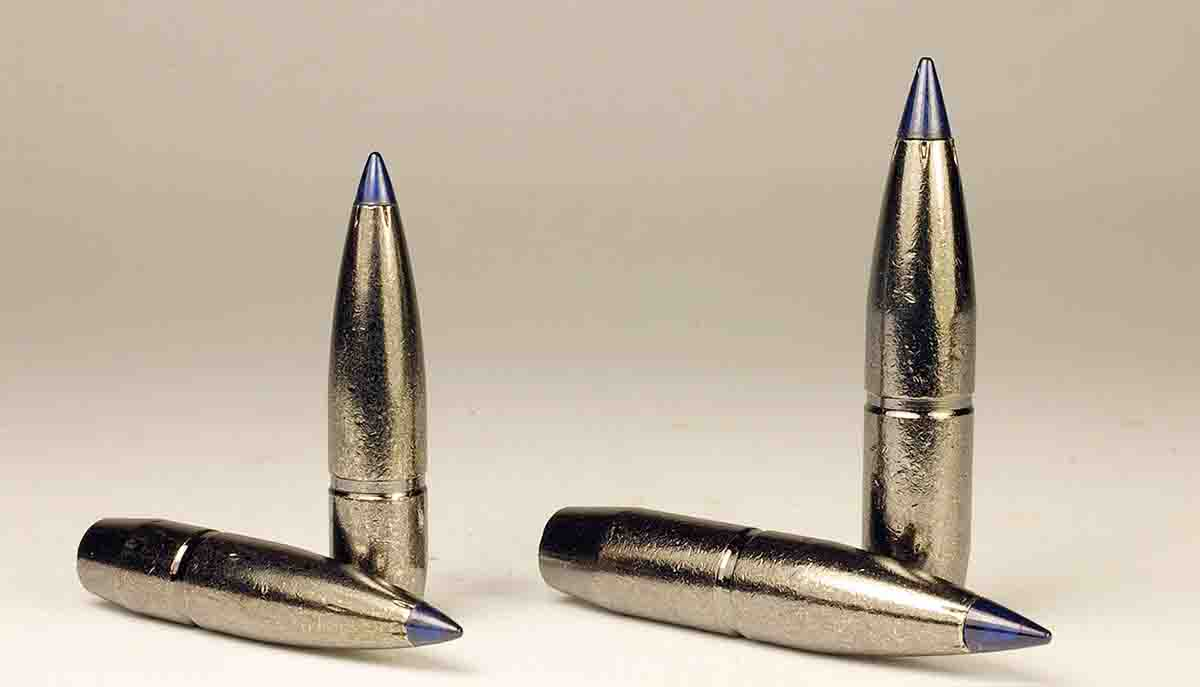 Federal Edge TLR bullets have one AccuChannel groove and a dull nickel finish. At left is the .27-caliber 136-grain Edge TLR, and at right is a .30-caliber 200-grain Edge TLR.