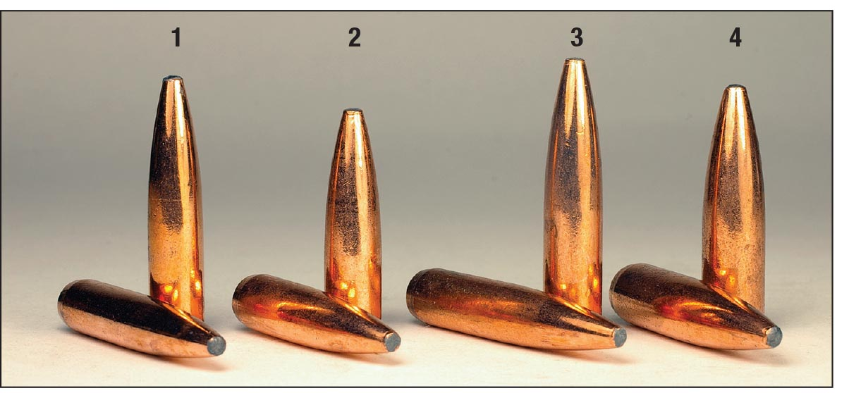 Federal has been loading Fusion bullets for years in its factory loads. Component bullets include a (1) 6.5mm 140-grain example, (2) .270 130 grain, (3) 7mm 175 grain and a (4) .308 180-grain bullet.
