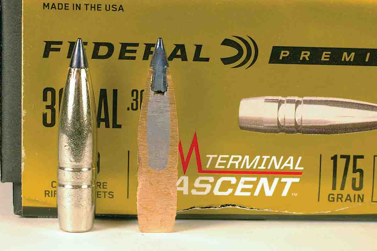 The .30-caliber 175-grain Terminal Ascent bullet is made with a solid shank topped with a lead core bonded to the jacket. The Slipstream tip is hollow and breaks away on impact.