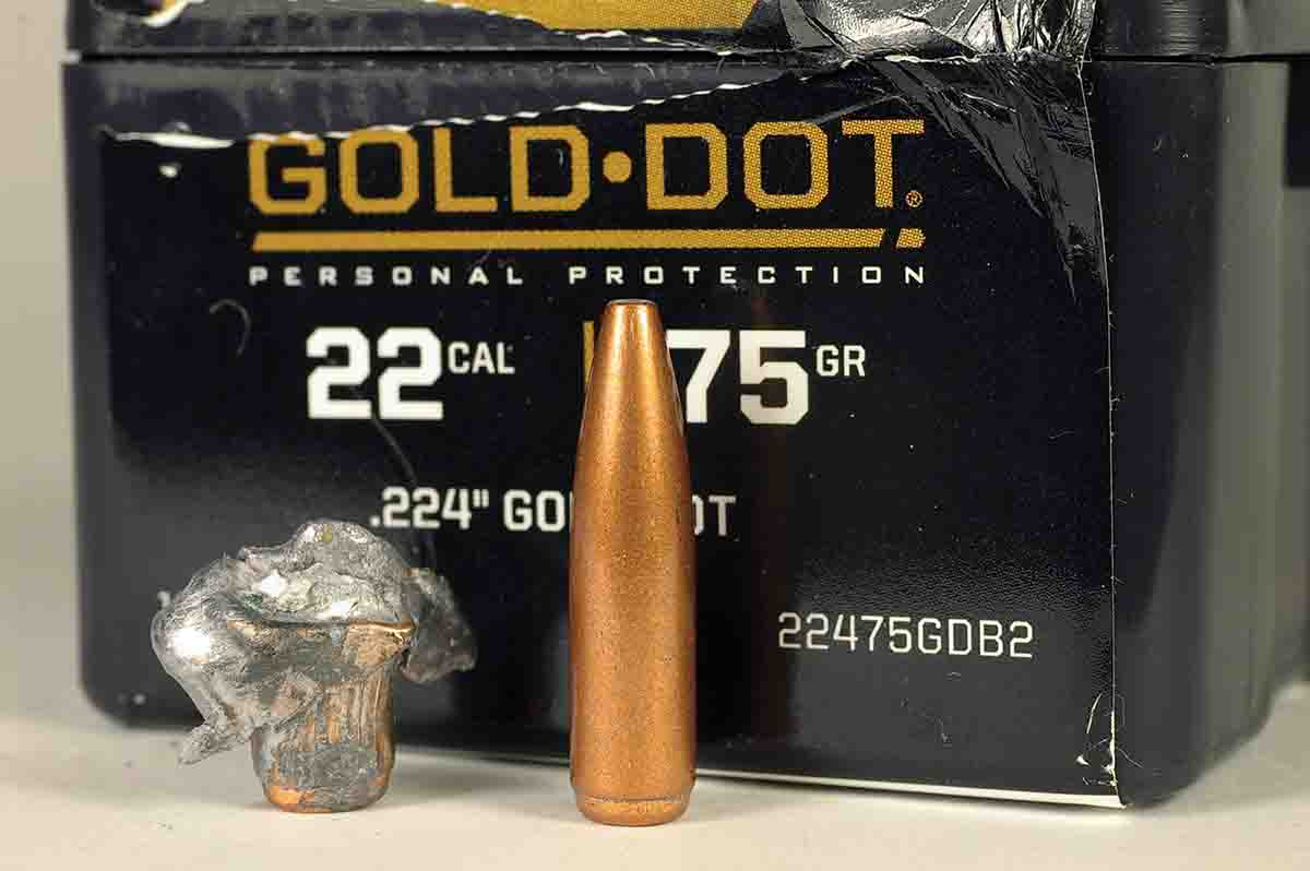 The Speer .22-caliber 75-grain Gold Dot is one tough bullet. The expanded bullet was traveling 2,500 fps when it hit a bundle of paper.