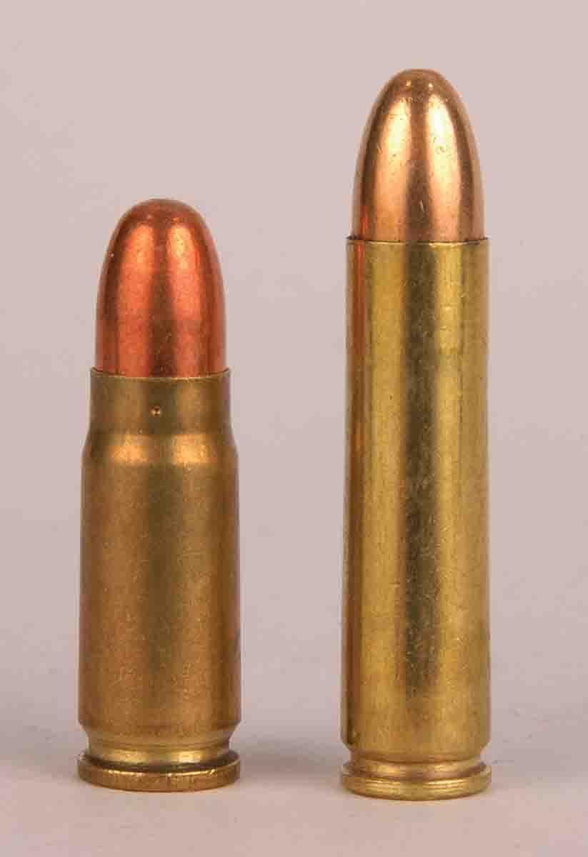 The 7.62x25mm (left) compared to a .30 Carbine (right).
