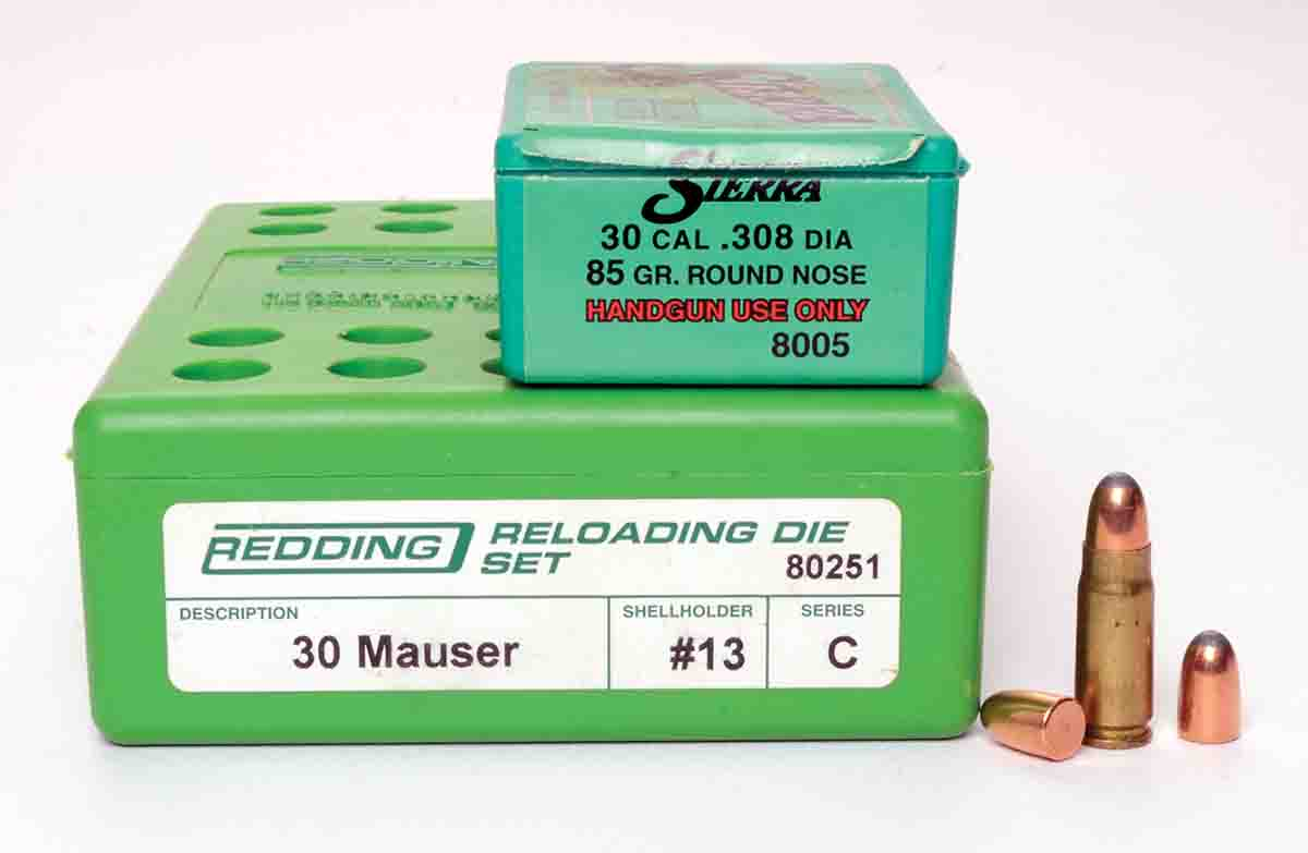 Reloading dies for .30 Mauser are fine for handloading 7.62x25mm, as are .308-inch jacketed bullets weighing between 80 and 90 grains.