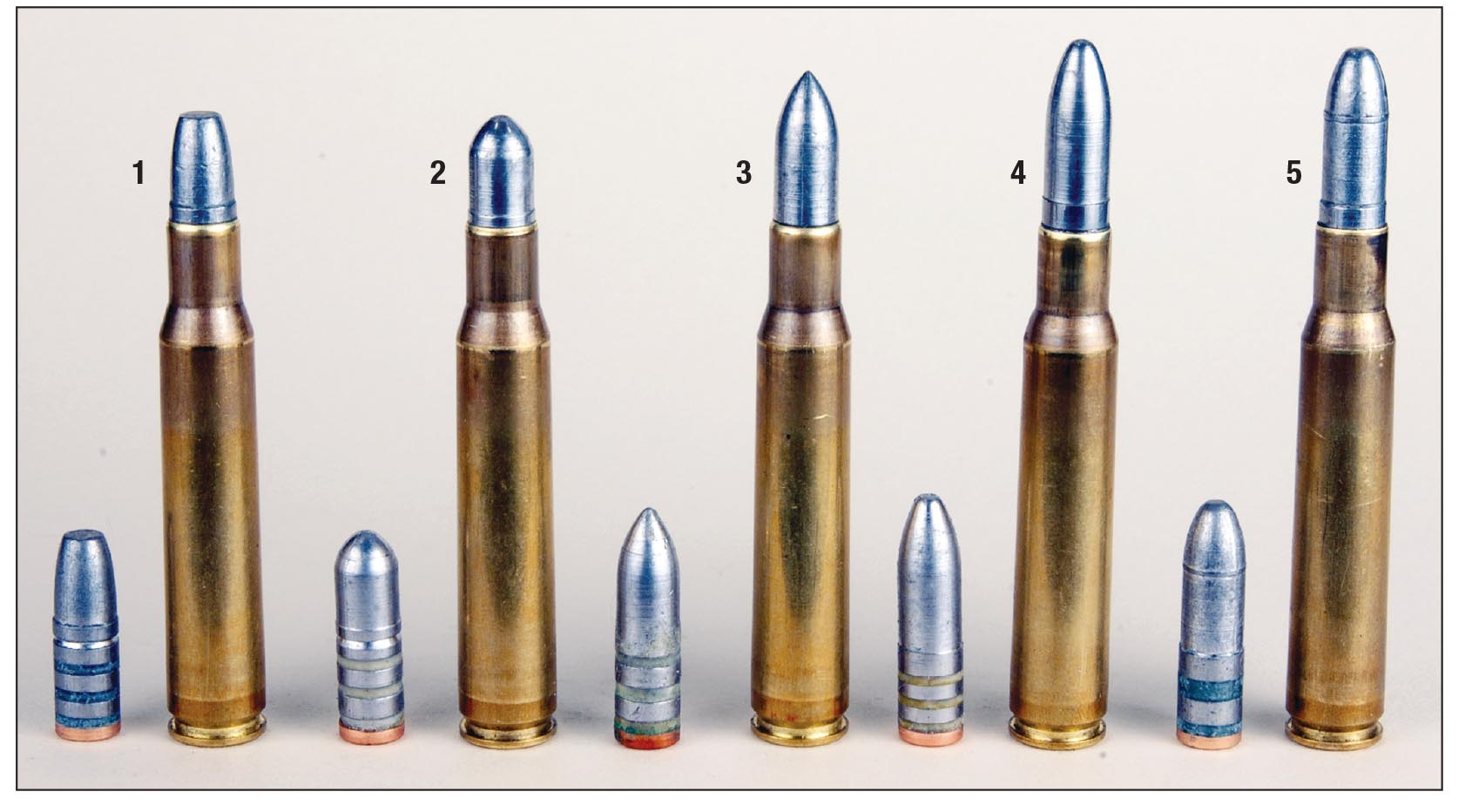 The cast bullets and loaded .30-06 rounds used in most of Mike's experimenting for '03/'03A3 rifles include (1) Laser Cast 170-grain FN, (2) 170 Lyman 311291 RN, (3) 178 Lyman 311332 SPT, (4) 195 Lyman 311299 RN and a (5) Laser Cast 200-grain RN.