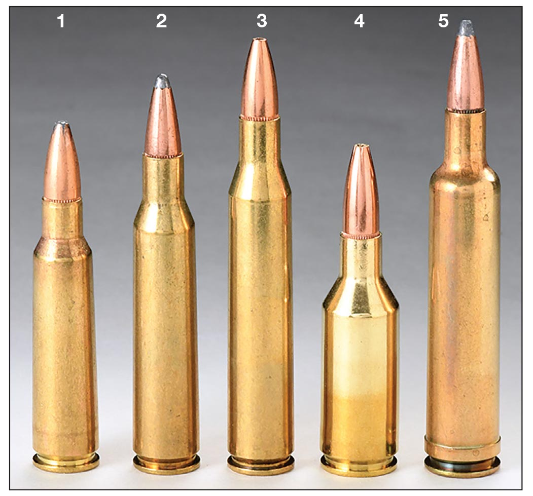 These .25-caliber cartridges include the (1) .250 Savage, (2) .257 Roberts, (3) .25-06 Remington, (4) .25 WSSM and (5) .257 Weatherby Magnum.