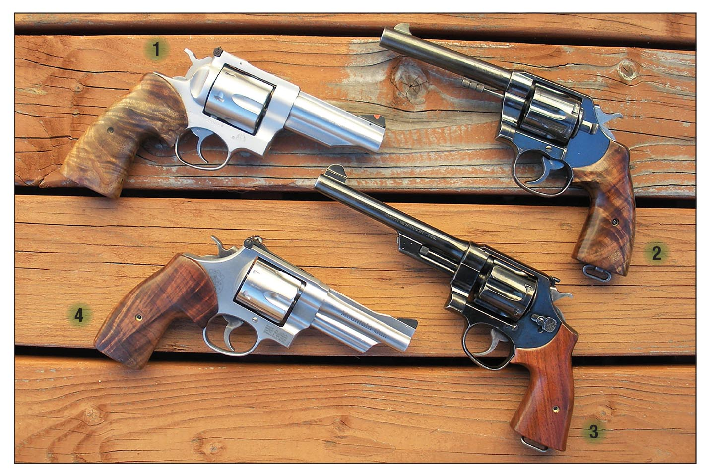 "Double actions include a (1) Ruger Redhawk .4515-plus (chamber throat) and .451 (barrel groove); (2) Colt New Service ""Navy"" Model 1909, .457 and .454; (3) Smith & Wesson New Century, aka Triple Lock, .456 and .455 and (4) Smith & Wesson Model 25-6 Mountain Gun, .451-plus and .451."