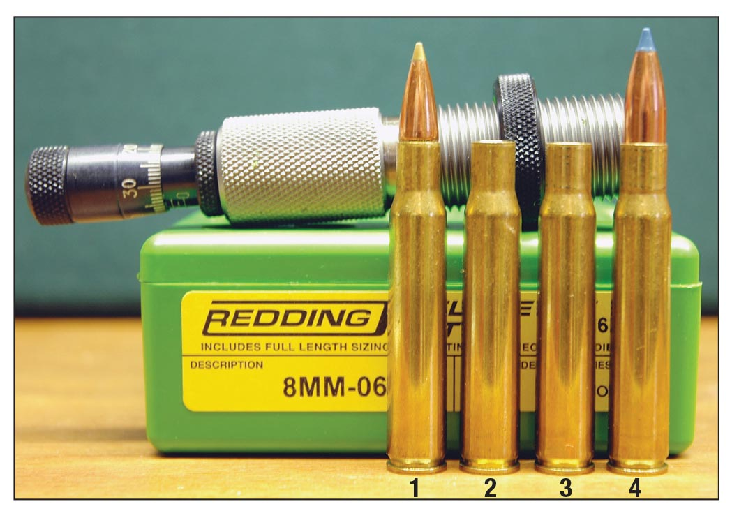 The 8mm-06 case is formed by necking up .30-06 brass with no fireforming required. This lineup includes a (1) .30-06 cartridge, (2) .30-06case, (3) .30-06 case necked up to 8mm and a (4) finished 8mm-06 cartridge.