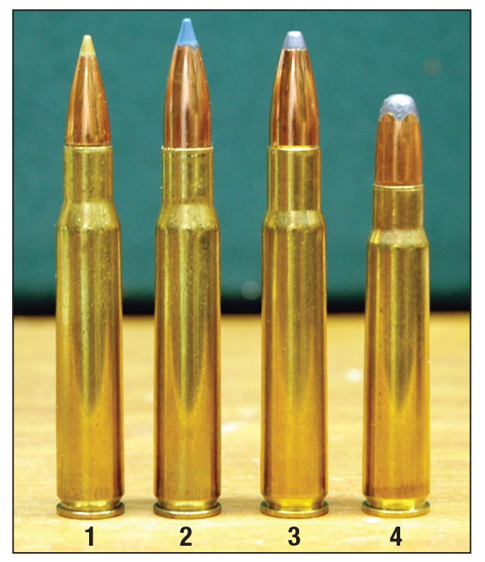 Bullet diameter for the 8mm-06 is precisely midway between the .30-06 and the .338-06. Shown for comparison is the (1) .30-06, (2) 8mm-06, (3) .338-06 and the (4) 8x57mm Mauser.