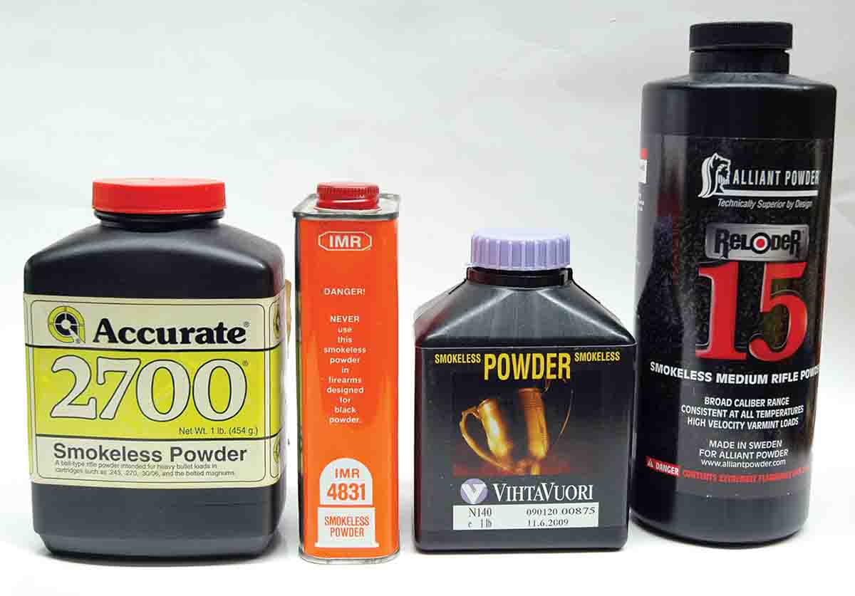 A number of powders with medium-slow burn rates are ideal for 8mm-06 handloads.