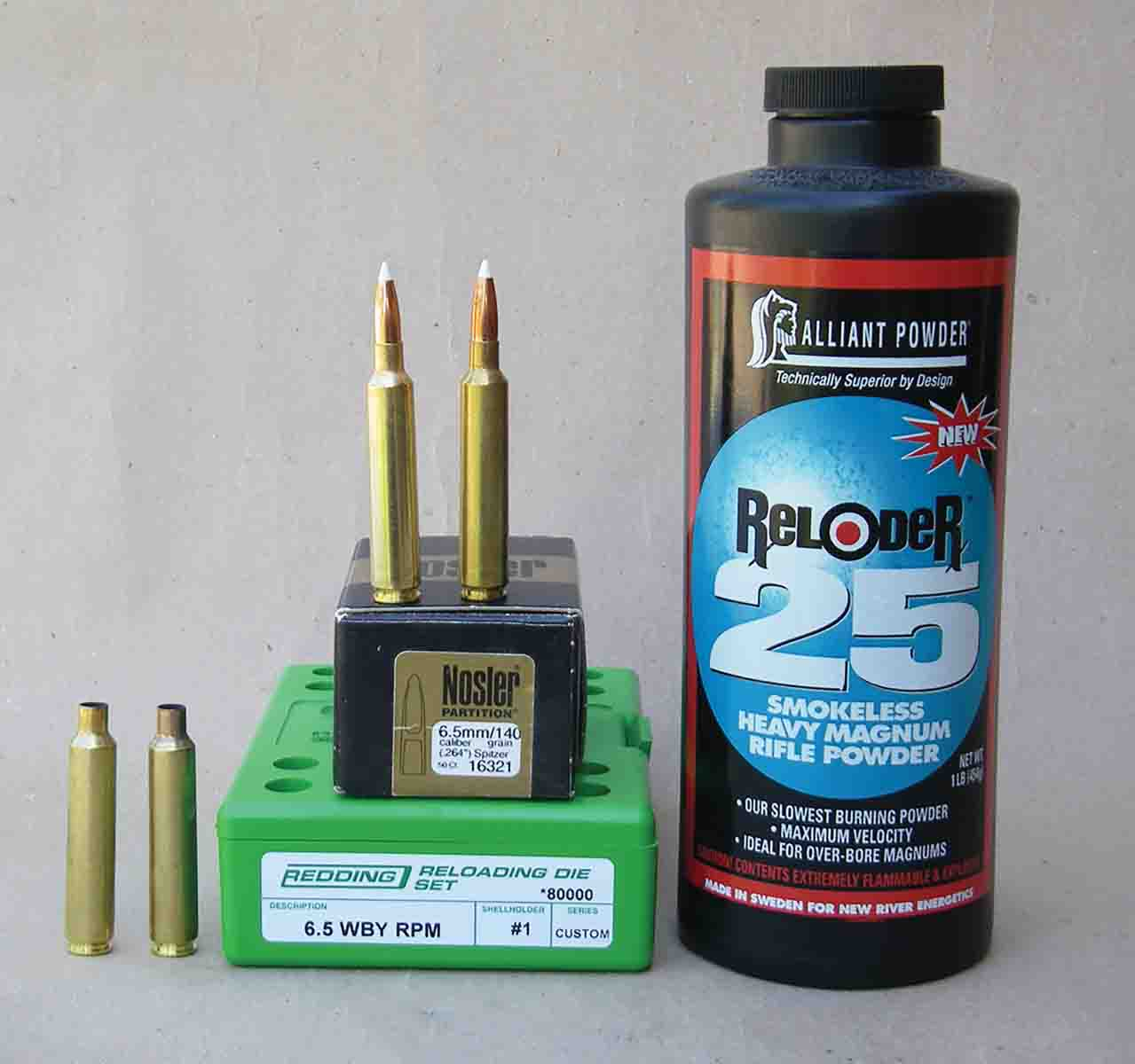 Alliant Reloder 25 is an excellent powder choice when handloading the 6.5 Weatherby RPM with 140-grain bullets.