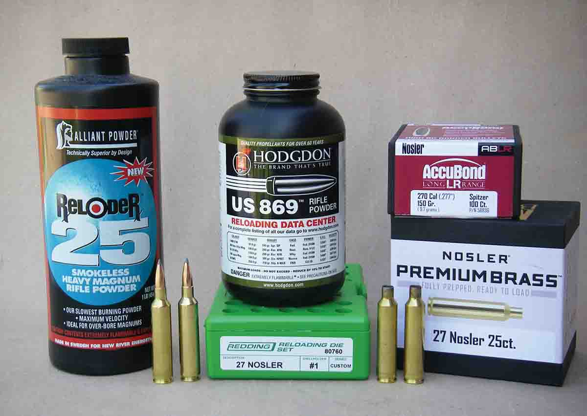 Alliant Reloder 25 and Hodgdon US 869 powders can duplicate .27 Nosler factory load velocities with 150-grain AccuBond bullets.