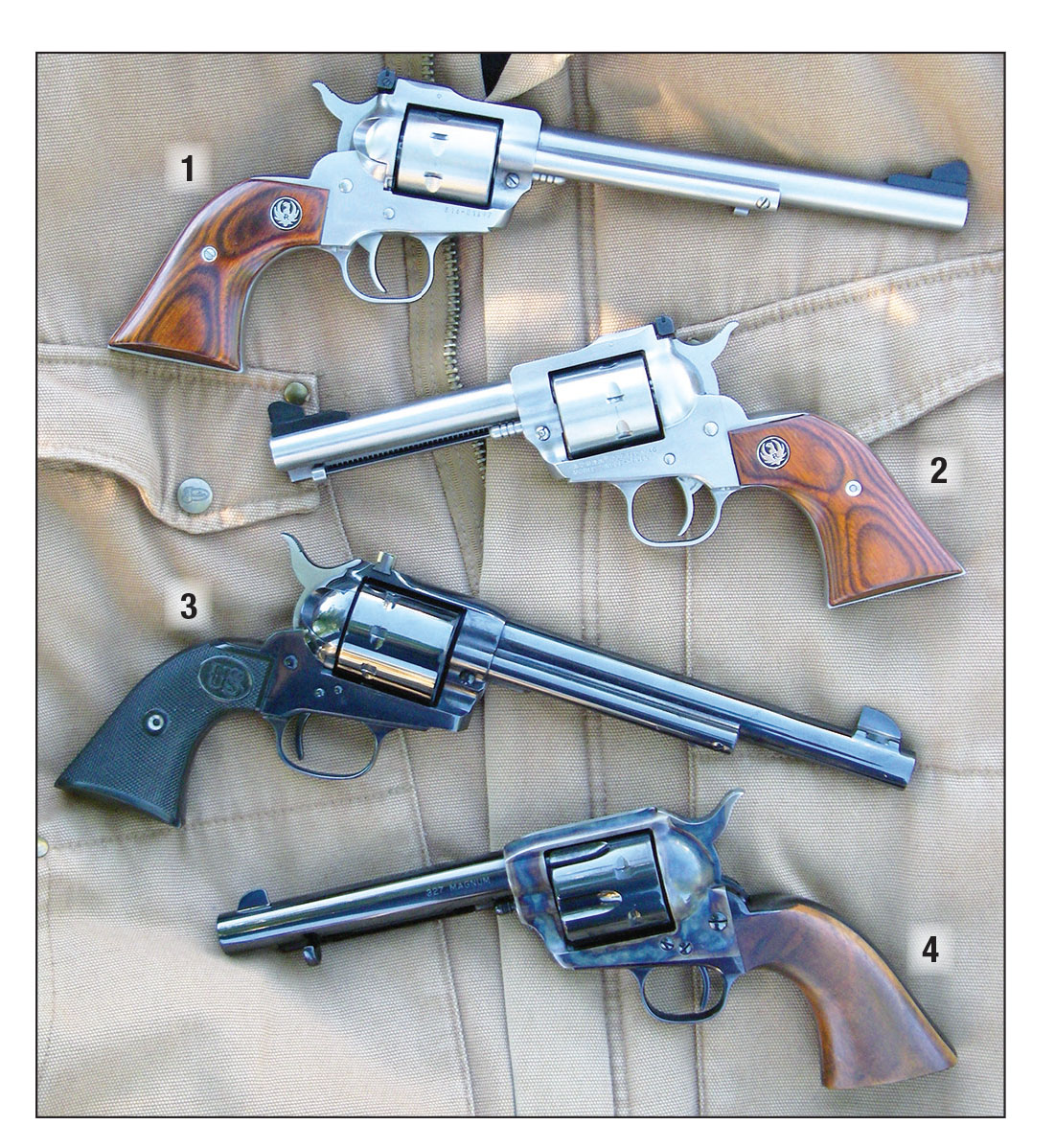 While the .327 Federal Magnum is available in several small revolvers intended for personal protection, Brian feels that it is at its best as a field cartridge in larger revolvers. Examples include the (1) Ruger Single-Seven (7½-inch barrel), (2) Ruger Single-Seven (45⁄8-inch barrel), (3) USFA eight-shot Sparrow Hawk (7½-inch barrel) and a (4) USFA Pre War (5½-inch barrel).