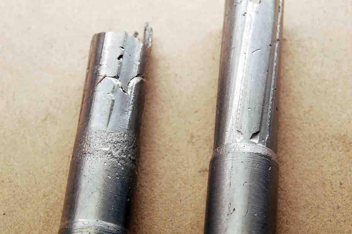 A chamber cast of a .310 throat (left) shows it to be just a tapered hole. A .30-30 is shown at right for comparison.