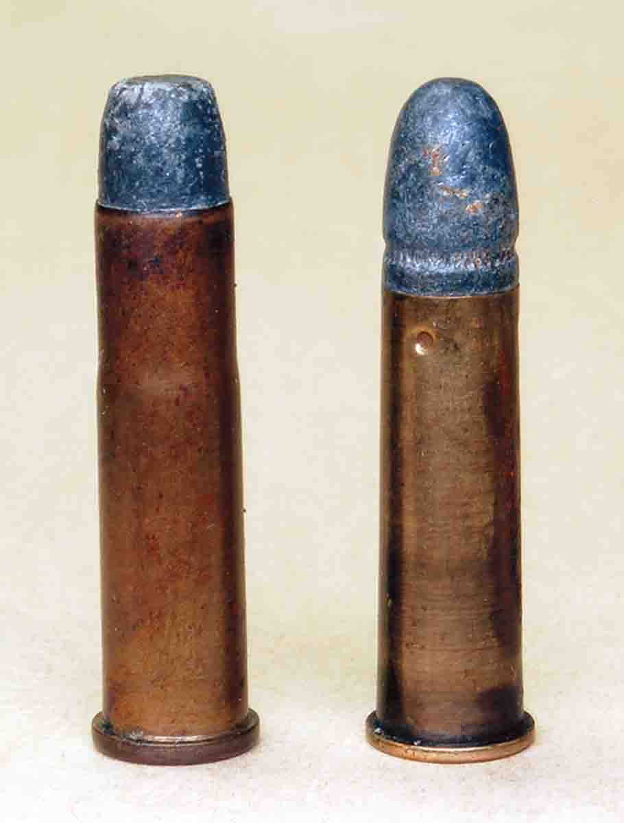 A .32-20 Winchester (left) is what the .310 Cadet (right) should have been.