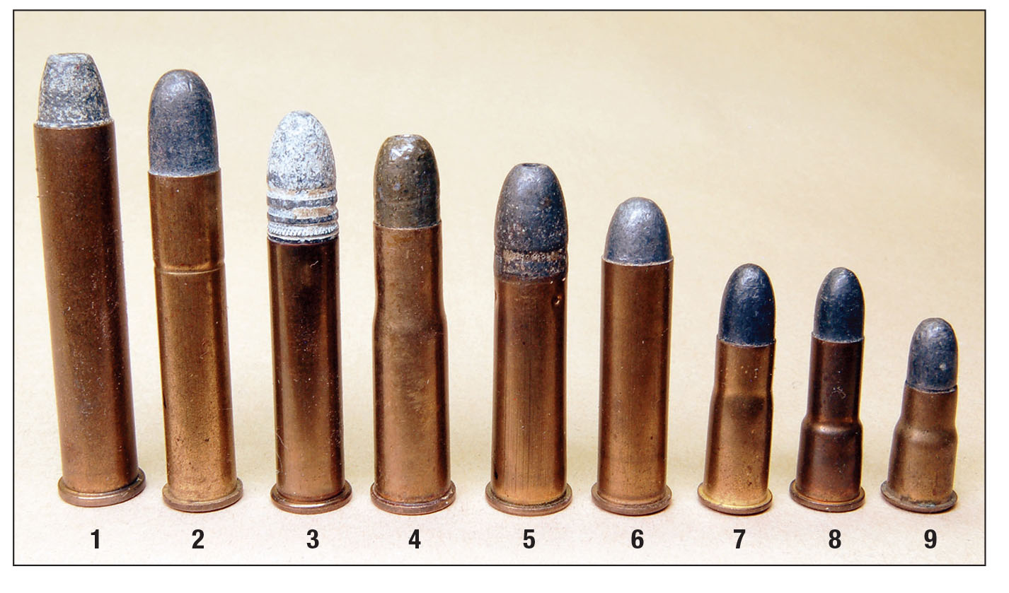 These small cartridges include the (1) .32 Ideal, (2) .300 Sherwood, (3) .32 Extra Long, (4) Jeffrey .275, (5) .310 Cadet, (6) .300 Rook, (7) 297/250 Rook, (8) 297/230 Long and (9) 297/230 Short.