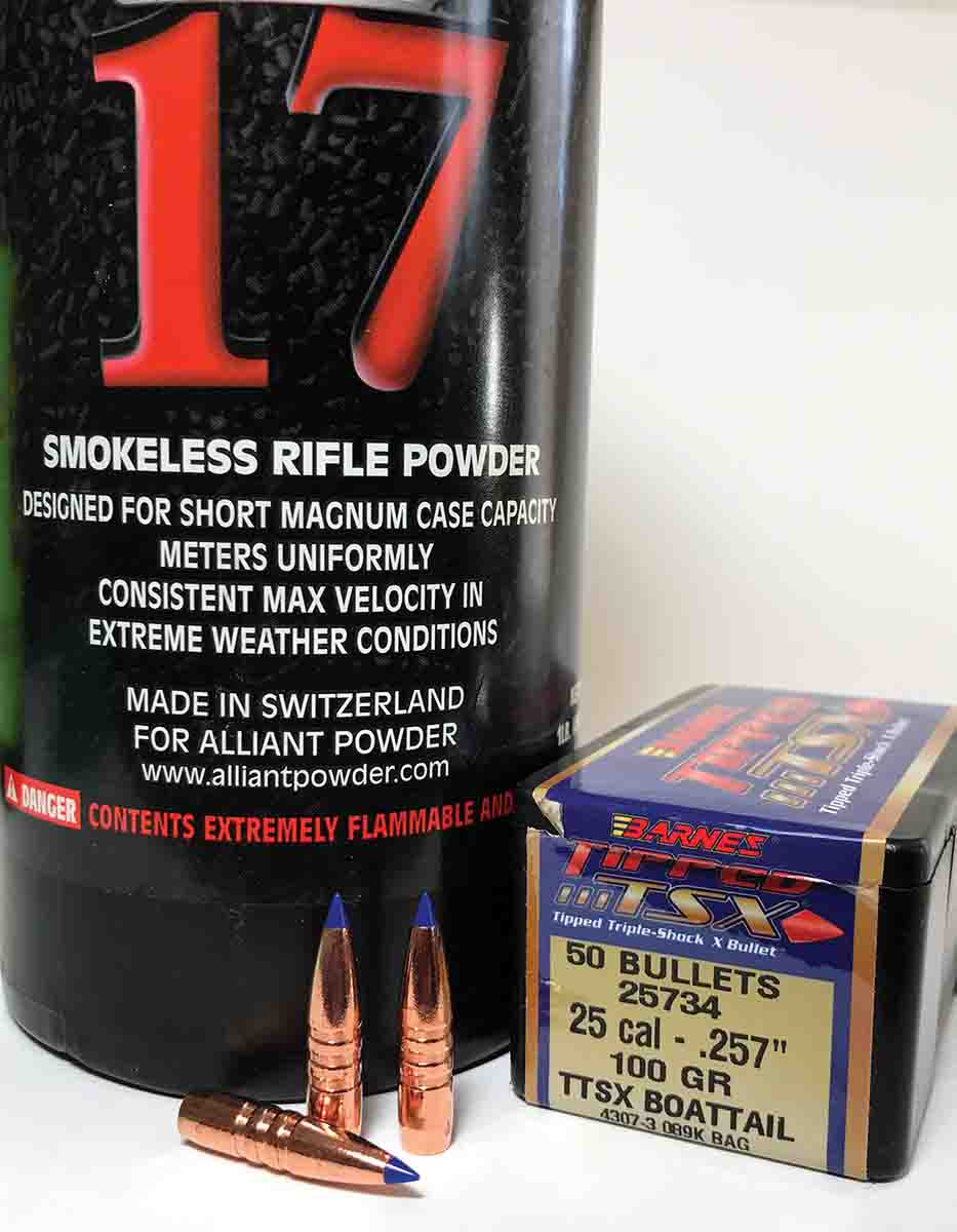 A case nearly full of Reloder 17 pushes Barnes 100-grain bullets at more than 3,400 fps.