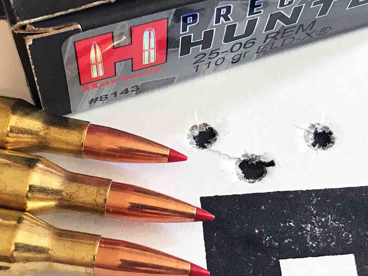 The old rifle provided this group with Hornady factory-loaded 110-grain ELD-X bullets.