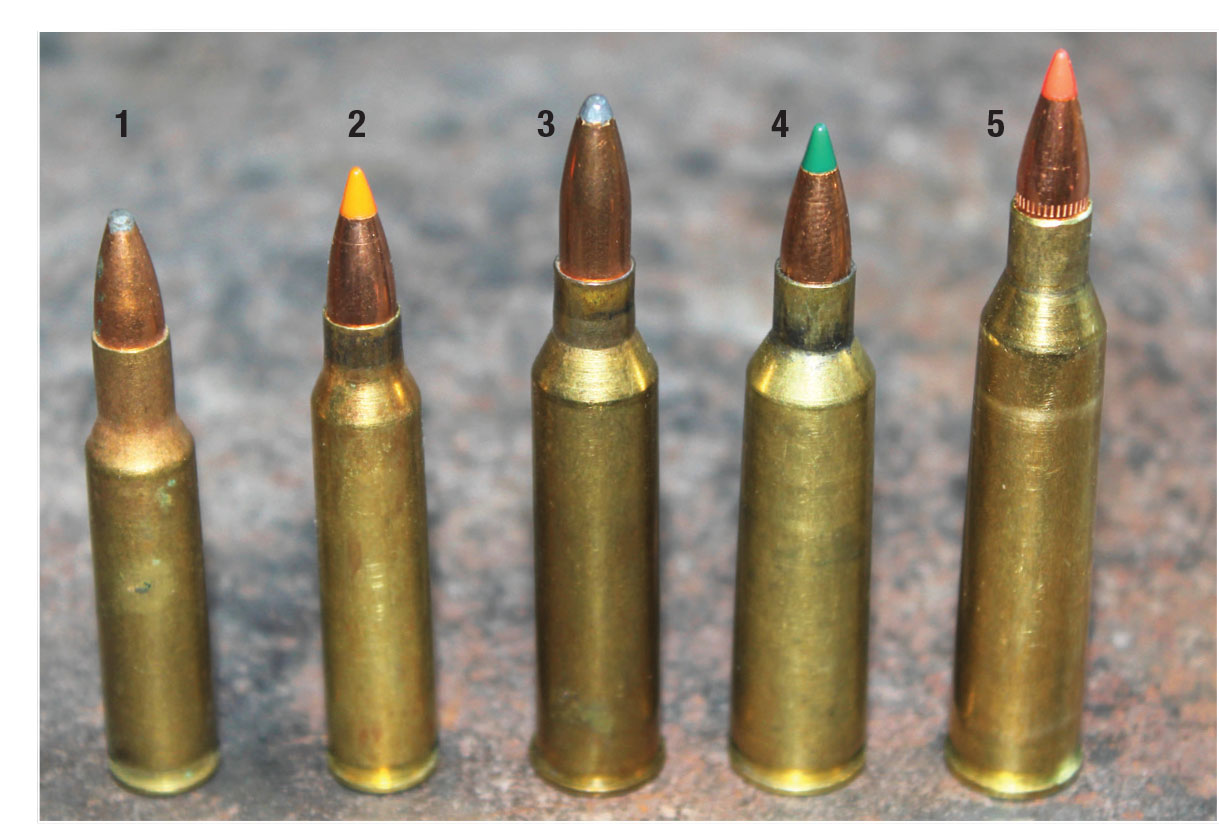 The .220 Swift is still the largest of the .22-caliber cartridges. This lineup includes the (1) .222 Remington, (2) .223 Remington, (3) .225 Winchester, (4) .22-250 Remington and the (5) .220 Swift.