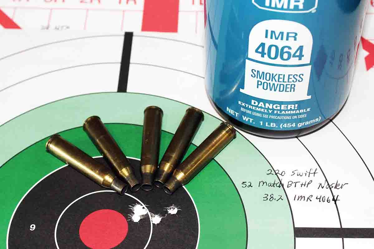 This handload of 38.2 grains of IMR-4064 beneath a Nosler 52-grain Match BTHP bullet proved to be the most accurate load tested.