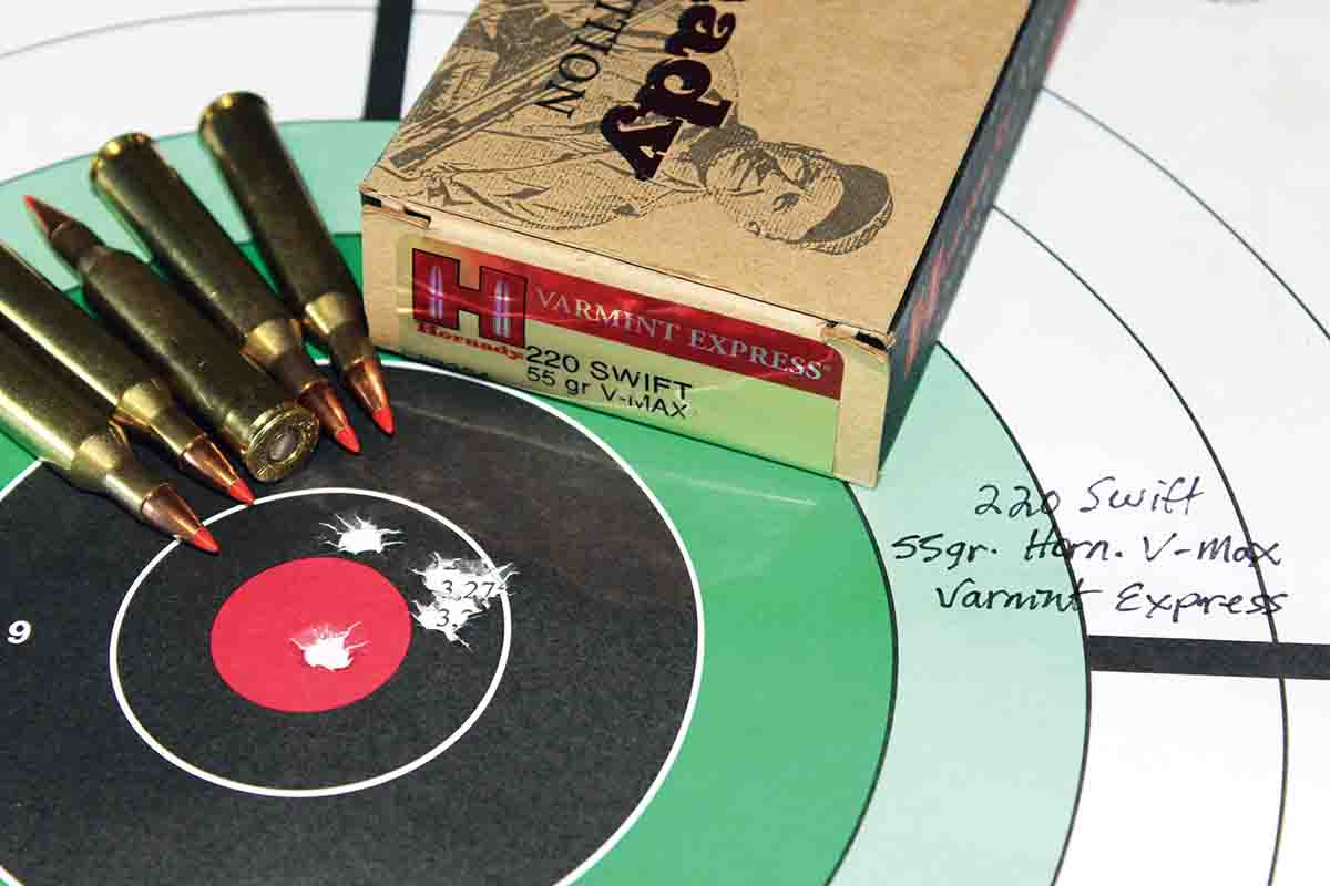 This 100-yard, five-shot group from Patrick's old Ruger M77V proved fairly par. Hornady's 55-grain V-MAX Varmint Express ammunition grouped into less than an inch. Only a couple of the handloads shot better.