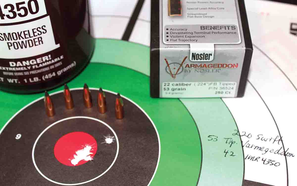 A compressed load of IMR-4350 under a Nosler 53-grain Tipped Varmegeddon proved both accurate and consistent.