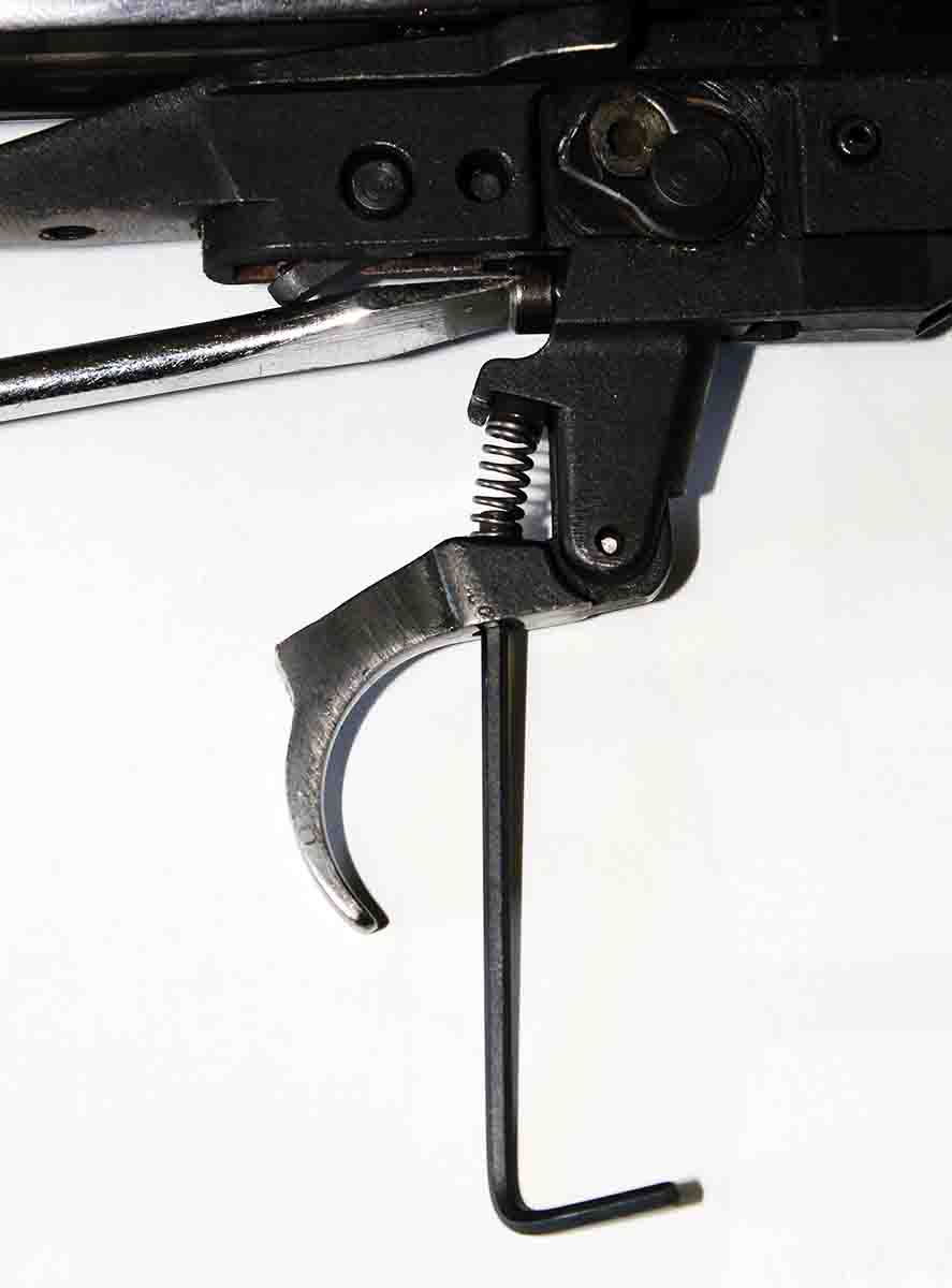 Original Ruger M77 bolt-action rifles include a user-adjustable trigger. Tweaking the trigger requires removing the action from the stock, a small flat-head screwdriver and tiny Allen wrench.