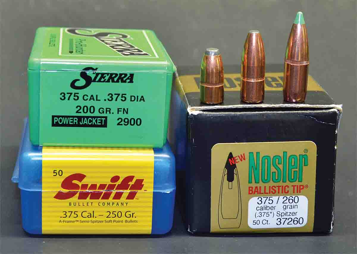 The .375 JDJ is commonly loaded with heavier bullets, but most hunters who use it will find those weighing from 200 to 260 grains the most useful. Bullets from left: Sierra 200-grain FN, Swift 250-grain A-Frame, Nosler 260-grain Ballistic Tip.