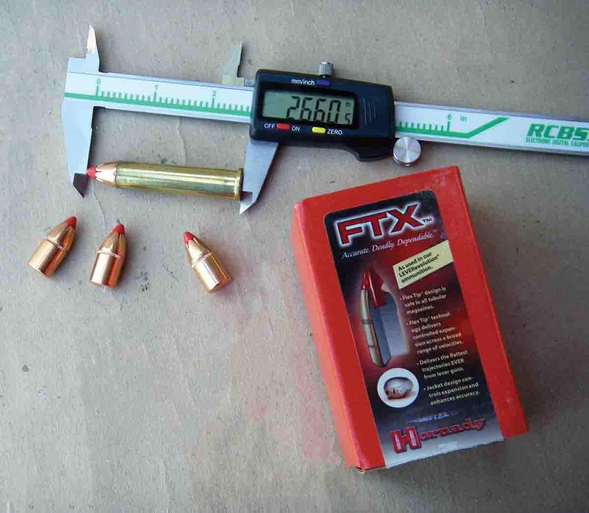 When handloading for lever-action rifles chambered for the .45-70, cases will generally need to be trimmed to 2.040 inches to accommodate the longer nose length of the Hornady 325-grain FTX bullet. However, some rifles might allow cases to be left full length, which results in an overall cartridge length of around 2.660 inches.