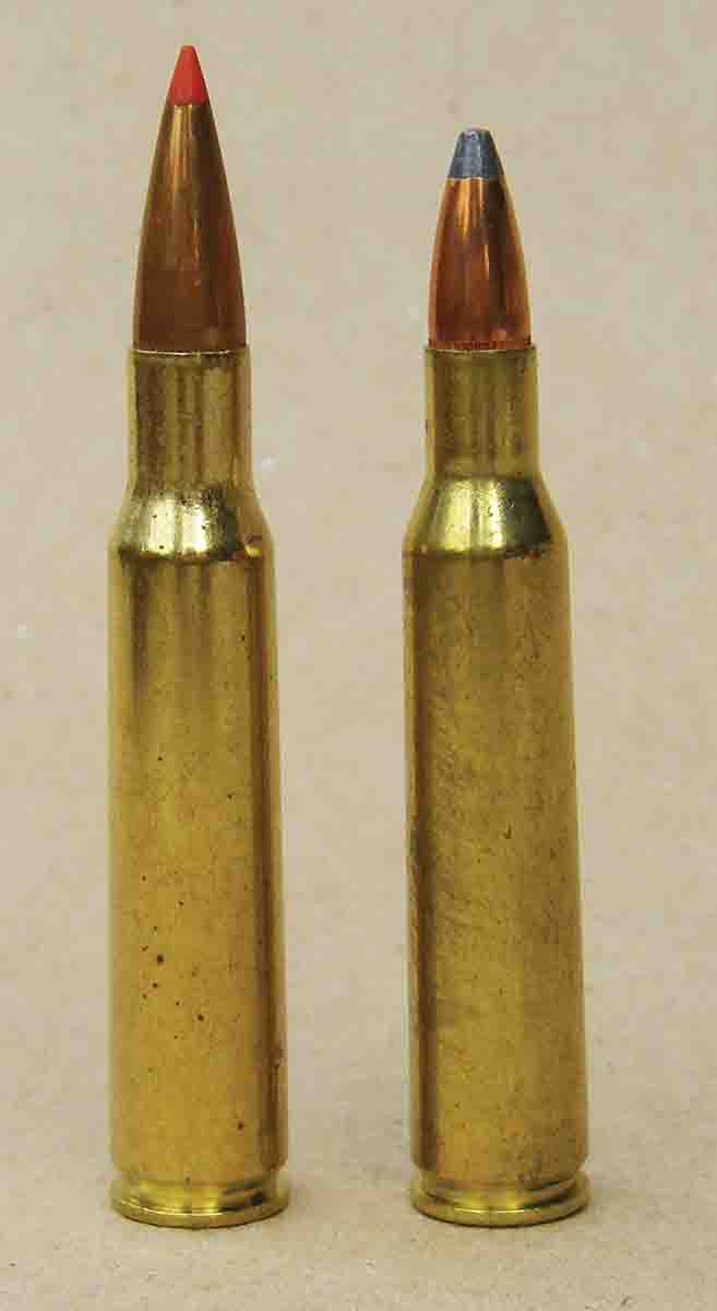 The .257 Roberts (right) is based on a necked down 7x57 Mauser case (left).