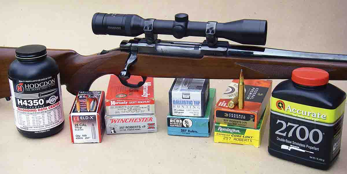 Brian used a Ruger M77R with a 22-inch barrel and Swarovski 3-9x 36mm variable scope to develop handloads for the .257 Roberts.