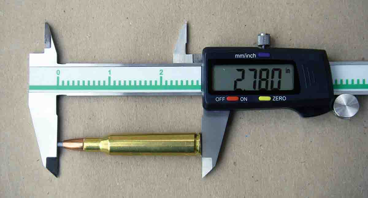 Maximum overall cartridge length for the .257 Roberts is 2.780 inches. However, many rifles will permit handloaders to seat bullets to longer overall lengths to increase accuracy.