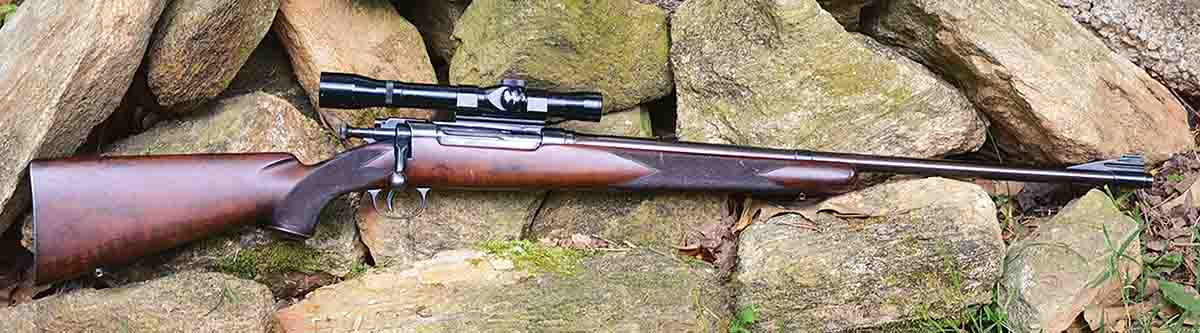 Bolt actions were scarce during the 1920s, so A.O. Niedner converted a Krag action to a single shot and chambered it to .22 WCF Improved. He also made its nickel-steel barrel, and the rifle was stocked by Tom Shelhamer.