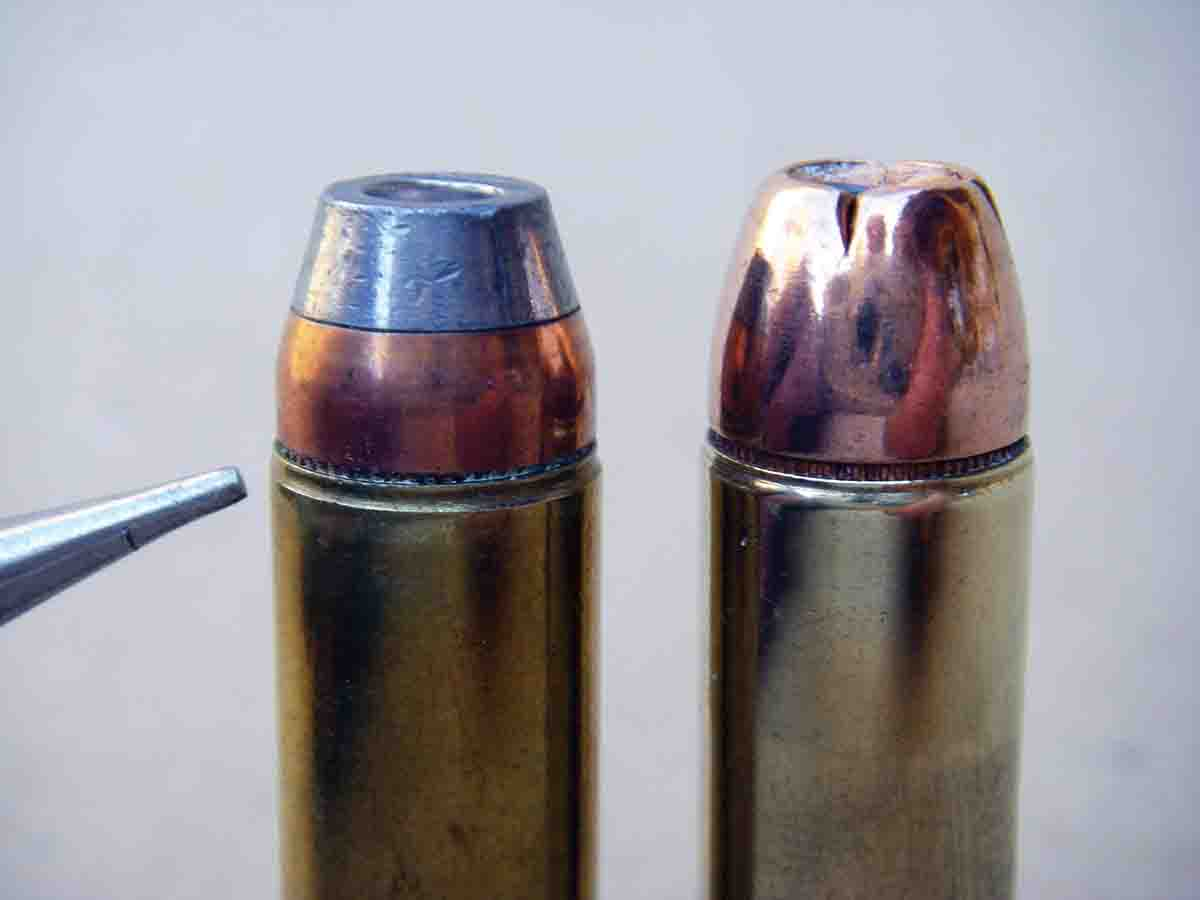 Early Freedom Arms factory loads (left) featured a neckdown crimp. However, many common roll crimp dies will not produce this type of crimp. The Hornady 300-grain XTP-MAG bullet (right) has a traditional roll crimp.