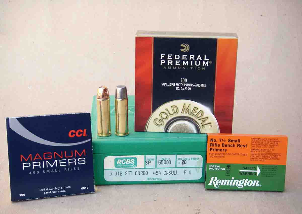 It is strongly suggested to use small rifle magnum primers to obtain reliable powder ignition.