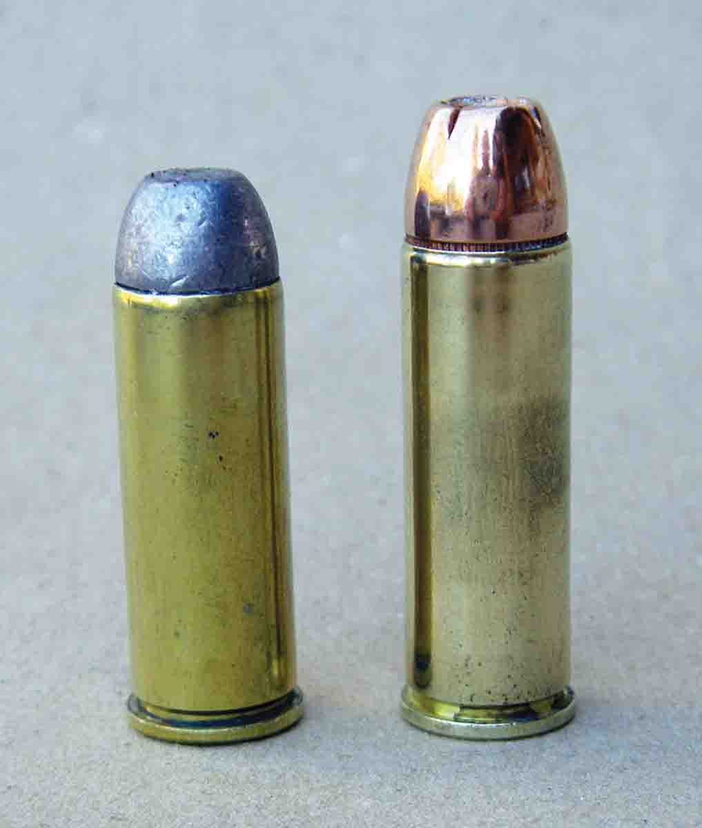 The .454 Casull (right) is a magnum version of the .45 Colt (left), but rather than being loaded at 14,000 psi, maximum average pressure is 65,000 psi.