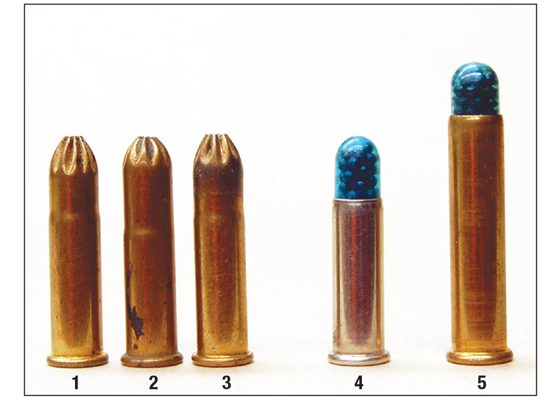 Today's .22 Long Rifle shot cartridges include: (1) Winchester, (2) Remington and (3) Federal with an extended case rose crimp. (4) CCI with plastic shot capsule and (5) CCI .22 WMR with plastic shot capsule.