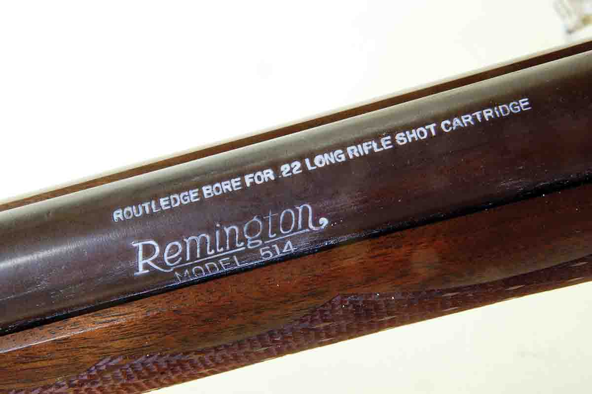The barrel of this Remington Routledge bore gun is marked on the top surface to make it obvious that it is not for bullets.